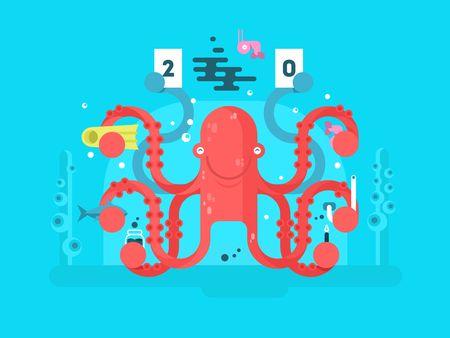 invertebrate: Octopus character design flat. Nature animal with tentacle, underwater invertebrate monster. illustration