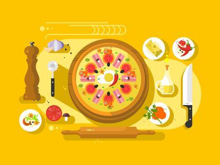 food ingredient: Pizza cooking design flat. Restaurant cooking italian food ingredient, illustration