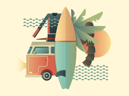holiday vacation: Surfing design concept. Summer travel sea, vacation tropical, holiday outdoor, illustration Illustration