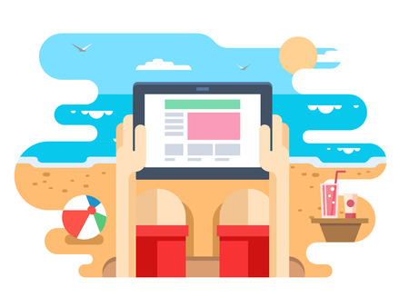 Tablet in hand on beach sea. Screen digital, communication and summer travel.