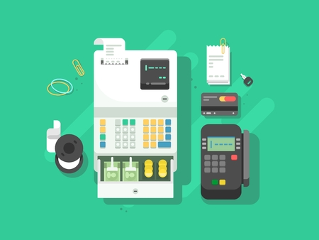 Cash machne and digital terminal for cards. Credit and cash, payment and transaction. Vector illustration Vektoros illusztráció