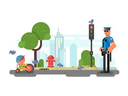 Politieman op de stad straat. Officer en veiligheid, stedelijke politieagent in uniform. vector illustratie