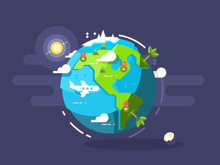 trave: Aircraft flying around the world. Trave airplane globe, earth global trip. Vector illustration