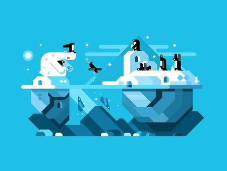 polar life: Arctic polar bear with penguins. Mammal in nature, north wildlife, winter and snow. Vector illustration