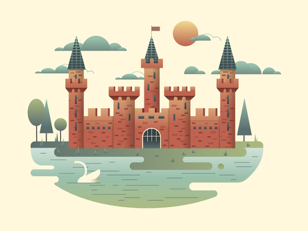 fortress: Building medieval with tower, fortress architecture, palace of kingdom, vector illustration