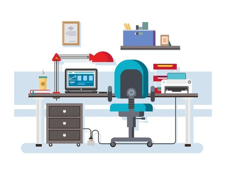 Office workplace. Interior creative, coffee and printer, furniture and folder, shelf and lamp, chair and laptop, flat vector workspace illustration