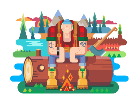 forester: Sawyer sitting on log. Worker and lumberjack, forester man, flat vector illustration