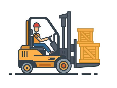 フォーク リフト輸送ボックス業界荷役設備、フォーク リフト、配送、送料、ローダー、オペレーターが操作します。フラットのベクトル図