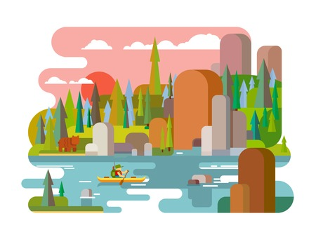 boating: Rafting on river flat style. Outdoor adventure summer, raft extreme, tourism travel activity, forest and rock, boating transport canoe. Flat vector illustration