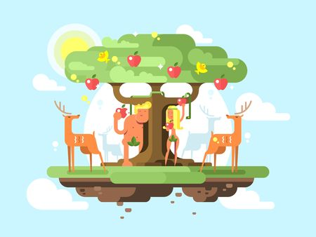 Adam and Eve near a tree. Apple garden fruit and couple male and female. Vector illustration Illustration