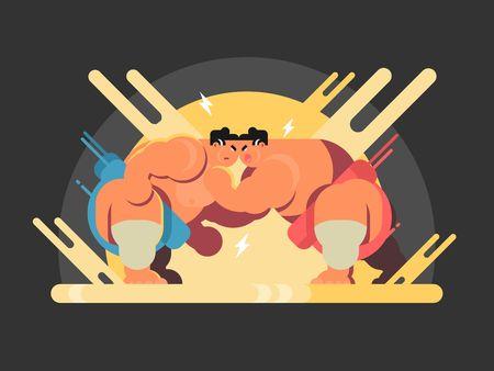 Athletes sumo fight. Sport japan, wrestler japanese fat and strength, vector illustration
