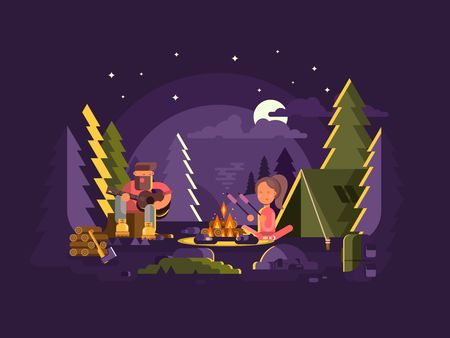 outdoor fire: Camp is near a fire. Outdoor campfire or bonfire, nature summer travel. Vector illustration Illustration