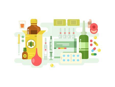 einlauf: Medikamente entwerfen flach. Medizin Gesundheit, Pharmazie Pflege und Gesundheitswesen, Vektor-Illustration