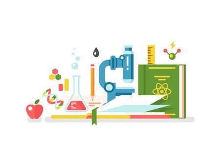 enseñanza: La ciencia y la educación. Libro del conocimiento estudio, la investigación y el aprendizaje, ilustración vectorial