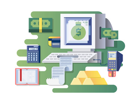computer device: Financial computer cash register. Device and electronic finance, transaction money, vector illustration