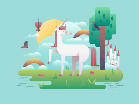 legend: Unicorn animal in nature. Cartoon horse wild fantasy, stallion magic legend, vector illustration Illustration