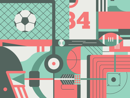 Sport abstract background. Game play activity on stadium, football and soccer match, vector illustration
