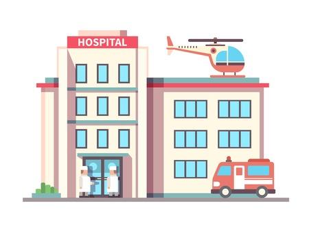 servicios publicos: Edificio del hospital estilo plano. Ambulancia y helicóptero, la salud y la atención, ayuda y médico. Ilustración vectorial