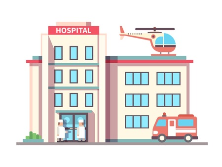 public health services: Hospital building flat style. Ambulance and helicopter, health and care, aid and doctor. Vector illustration