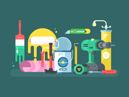 industrial construction: Tools for repair or construction, hammer instrument industrial. Vector illustration
