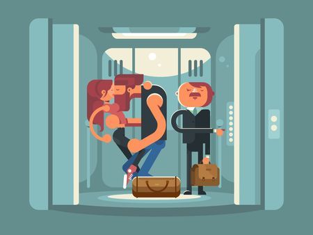 people in elevator: Couple kissing in the elevator. People man and woman kiss.  Standing businessman in suit. Vector illustration Illustration
