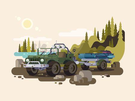 Transport trailer met vesse om te vissen. vector illustratie