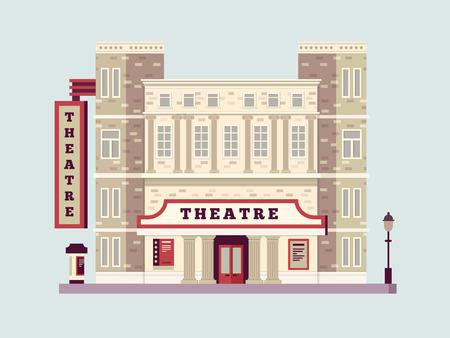 historic: Theater building design flat. Urban facade art house, culture historic construction. Vector illustration