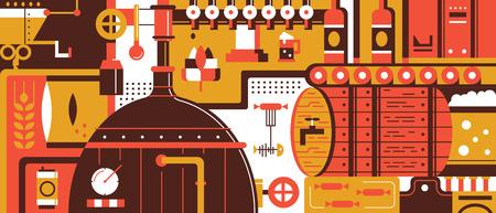 Brewery design piatto. Birra bevande alcoliche, la produzione per pub, illustrazione vettoriale