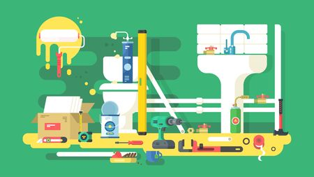 pipe wrench: Repair of bathroom. Tool for plumbing, fix pipe wrench, vector illustration
