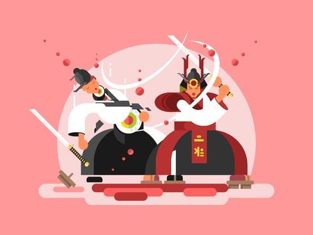 Sushi samurai design. Japanese warrior and seafood roll, vector illustration