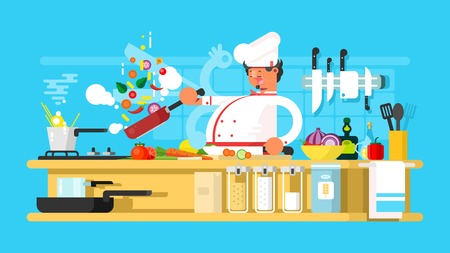 cooking chef: Chef prepares in kitchen. Food cooking and vegetable prepare. Vector illustration