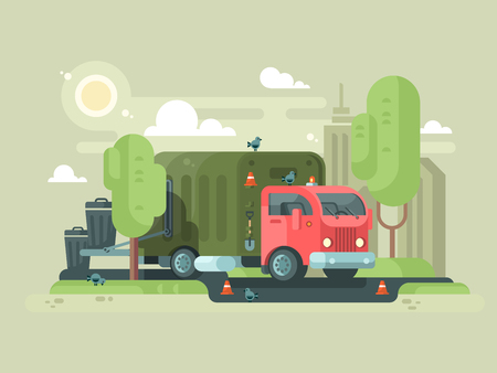 Machine picks up trash. Vehicle container loading waste and rubbish. Vector illustration