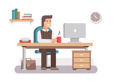 workspace: Office worker. Business work, desk and workplace, employee man, businessman, workflow and workspace. Flat vector illustration