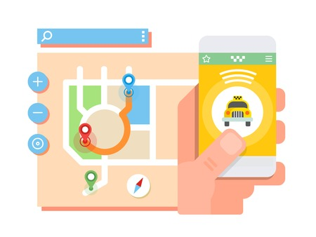 public transfer: Mobile taxi application. Transport service, position pin on map. Flat vector illustration