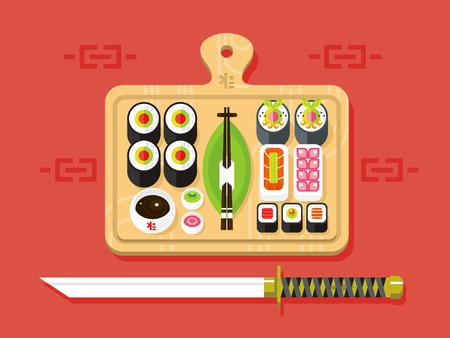 japanese cuisine: Japanese cuisine. Food traditional, sushi roll and seafood, ingredient nutrition, flat vector illustration
