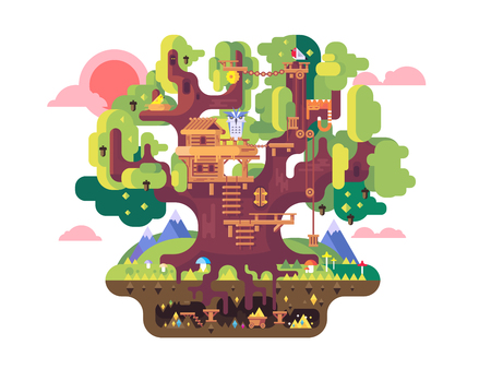 fairy tree: fairy tree house. Childhood building, nature home design, fantasy architecture, flat vector illustration Illustration