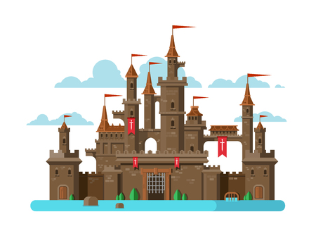 history building: Medieval castle. Tower building, architecture ancient history, moat with water. Flat vector illustration