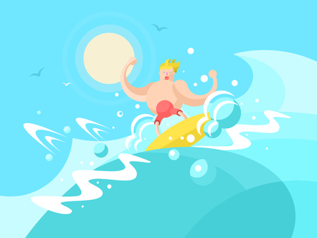 wave crest: Surfer on the a wave crest. Surfing water sport, beach and swimming surf outdoor, vector illustration Illustration