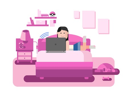 woman lying in bed: The girl behind the computer. Internet chating, correspondence with smartphone, multimedia conference, flat vector illustration