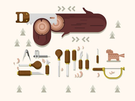 carving: Concept woodcarving. Instrument for carving, carpentry tool, chisel and saw, flat vector illustration