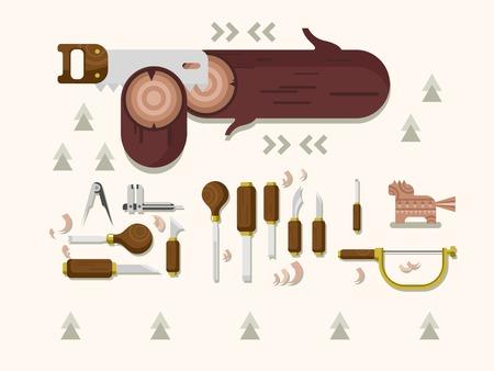 tallado en madera: Talla de madera Concepto. Instrumento para escultura, herramientas de carpintería, cincel y vio, ilustración vectorial plana Vectores