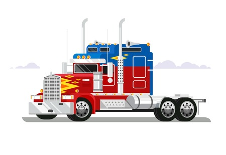 freight transportation: Fura truckers. Truck vehicle, transportation freight, automobile industrial, delivery cargo, flat vector illustration Illustration