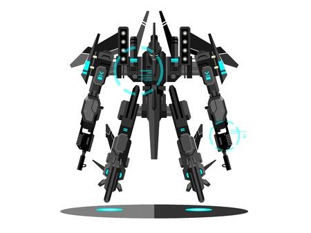 Transformateur de robot militaire. robotique métallique isolé, jouet, warr cyborg fantastique, une technologie futuriste, machine gun mécanisme, illustration vectorielle