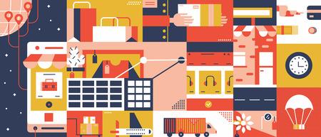 Mobiele e-commerce winkel abstracte achtergrond plat ontwerp. Online winkelen, cart met producten, oplossing voor klant. Vector illustratie concept.