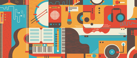 Abstract Music Background, flat vector illustration. Collage of varios musical instruments. Stock Illustratie