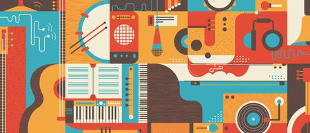 Streszczenie tle muzyki, płaskie ilustracji wektorowych. Kolaż varios instrumenty muzyczne.