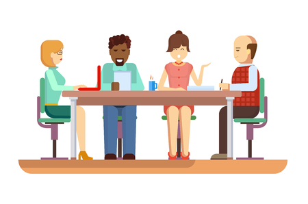 briefing: Business briefing. Meeting and corporate office work, team businesspeople, partner and employee, mentor woman. Flat vector illustration