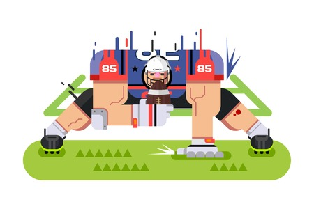 touchdown: American football player. Protection pose, ball and athlete, game and touchdown, flat vector illustration Illustration