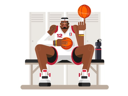 tall: Cartoon basketball player. Athlete person, game and strong man, character sportsman, flat vector illustration