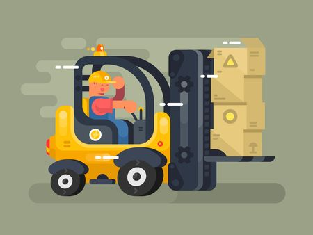storekeeper: Storekeeper loader flat design. Cargo transportation to warehouse, industry freight and distribution. Vector illustration